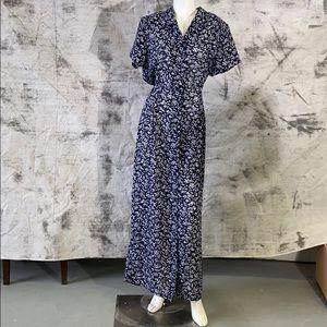 Vintage tall girl blue floral dress- XL